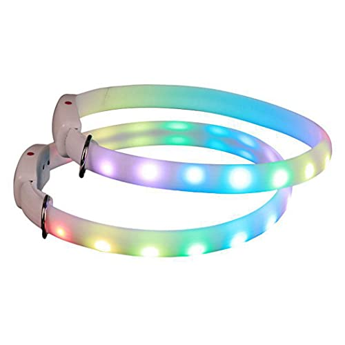 Anjetan Collar De Perro Led USB Recargable Iluminar Seguridad Eléctrica Creativa Collar De Mascota De Brillo Intermitente Ajustable