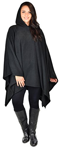 Dare2BStylish Women Poncho Style Hoodie Sweater Fleece Cover Up for Cold Weather Black