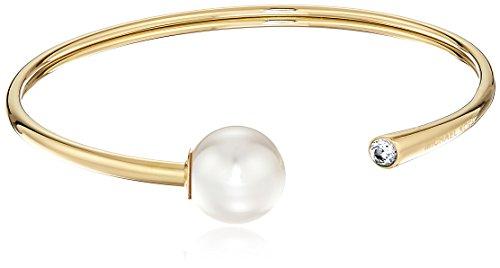 Michael Kors Modern Classic Gold-Tone, Crystal and White Pearl Flex Bracelet