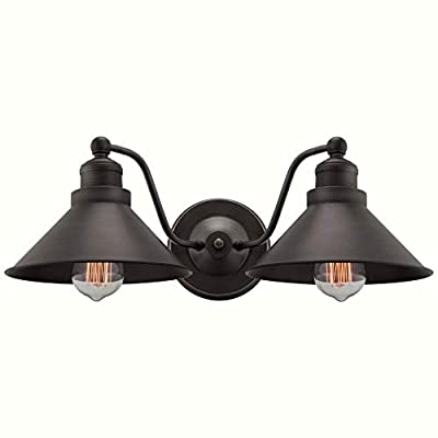 "Kira Home Welton 19"" 2-Light Modern Farmhouse Bathroom Light, Vintage Wall Sconce Barn Light, Hand-Painted Gold Trim + Brushed Dark Industrial Bronze Finish"