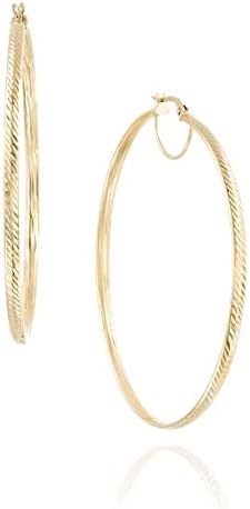 14k Gold Large Hoop Earrings - Solid Yellow Gold In Textured Finish - Hoop Earrings, Elegant Jewelry - Mother's Day Gift (4.3 g, 2.4 inches)