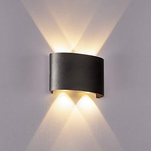 ERWEY LED Wandleuchte Innen Wandlampe Warmweiß Up Down Leuchten Aluminium Wandlicht Wasserdichte Aussenleuchte Wand Wandbeleuchtung Flur (Schwarz, Klein 4 LEDs)