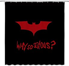 Jszna Cartoon Bat Shower Curtain Red Black Why so Serious Decor Fabric Bathroom Curtains,Waterproof Polyester with Hooks 72x72 Inch