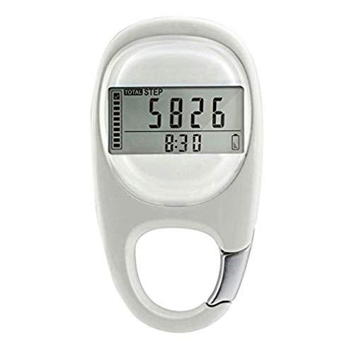 3D-Karabiner, Schrittzähler, Smart-Sensor, Kalorienzähler, Aktivitäts-Tracker, automatische Schlaffunktion, 7 Tage Datenspeicher, Reset-Funktion (Silber)