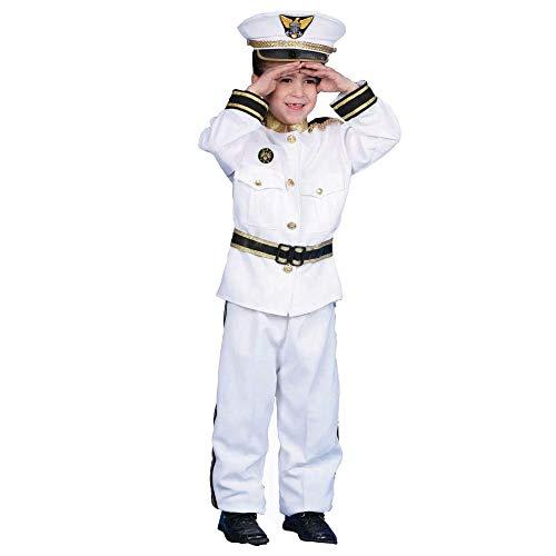 Dress Up America Navy Admiral Costume - White Ship Captain Uniform for Kids - Boat Captain Costume Set for Boys and Girls