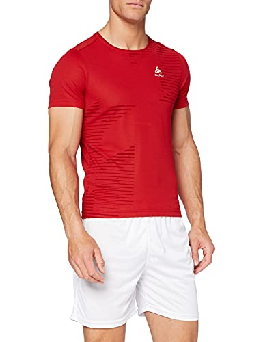 Odlo Short Sleeve Crew Neck George T-Shirt Homme, Chinese Red/Placed Print SS17, Petit
