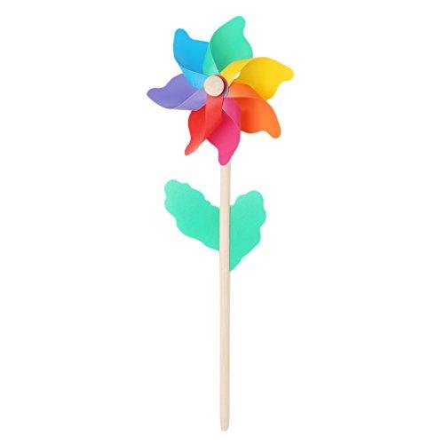 WOXIWANNI adornos de jardín – Decoración de jardín – Molino de viento para niños juguetes de madera palo césped jardín adornos coloridos al aire libre Spinner