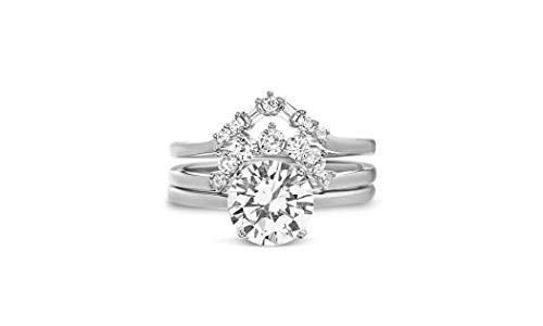TwoBirch 18k White Gold Plated Trio Stacking Bridal Set (Three Rings - Solitaire and Two Tiara Wedding Rings) (Sterling Silver, Size 8)