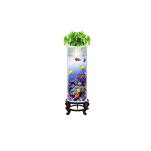 DUTUI Zylindrisches Kleines Desktop-Aquarium, Wohnzimmer Und Büroaquarium, Glas-Aquarium Ohne Wasserwechsel, Goldenes Aquarium,15X57cm