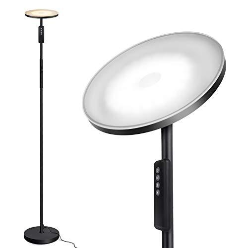 Outon Stehlampe Led Dimmbar, 30W Moderne Deckenfluter Stehleuchte Stufenlos Dimmbar mit 3 Farbtemperaturen, Fernbedienung&Touch Control für Wohnzimmer Schlafzimmer Büro, Schwarz