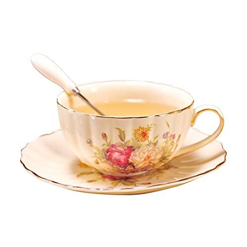 XDYNJYNL Juego de taza de café y platillo, de cerámica, 225 ml, pintadas a mano, vintage, tazas de capuchino, tazas de café con asa, taza de té para desayuno, vasos de jugo, tazas de batido
