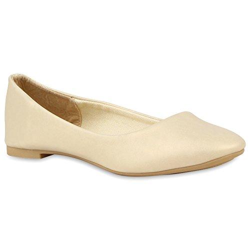 stiefelparadies Klassische Ballerinas Lack Damen Flats Schleifen Glitzer Ballerina Slipper Gesteppt Sommer Abend Nieten Schuhe 112545 Gold 39 Flandell