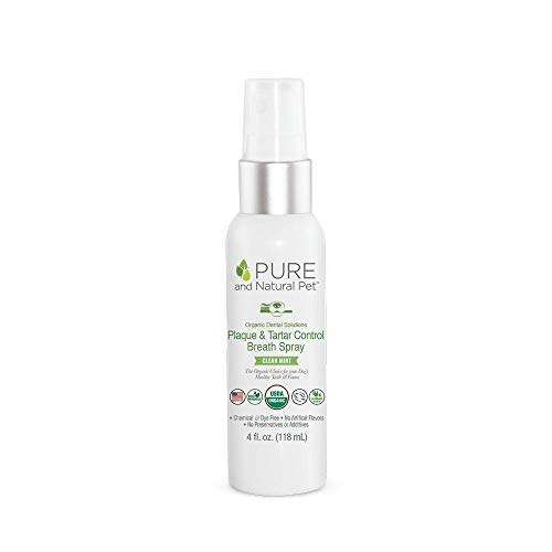 Pure and Natural Pet - Organic Dental Solutions Plaque & Tarter Control Breath Spray Clean Mint 4 oz, PN805