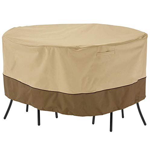 SlimpleStudio Windproof Anti-UV,Outdoor dust-proof and dust-proof furniture cover rain-proof shade round table and chair cover balcony courtyard round table cover-Beige_178x58cm