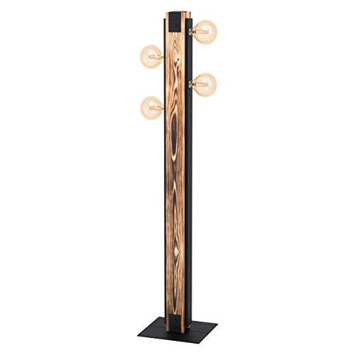 EGLO Stehlampe Layham, 4 flammige Stehleuchte Vintage, Industrial, Retro, Standleuchte aus Stahl, Holz und Textil, Wohnzimmerlampe in Schwarz, Weiß, Lampe mit Tritt-Schalter, E27 Fassung