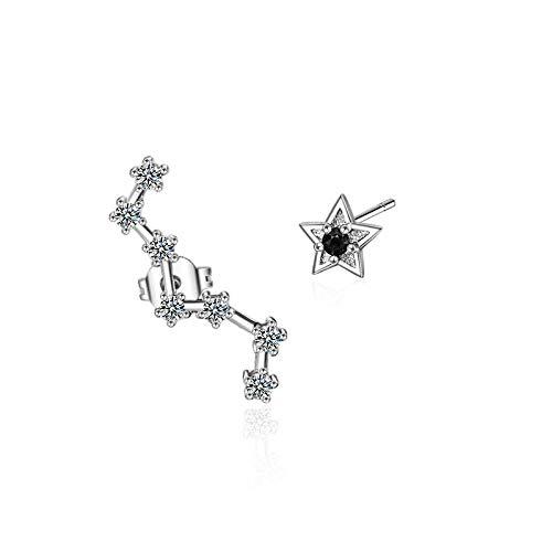 YFZCLYZAXET Pendientes Mujer Pendientes De Cristal De Circón Simple De Moda De Plata De Ley 925 Pendientes De Regalo para Mujer