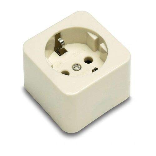 Base de 1 toma TT lateral superficie 250V 16A Blanco