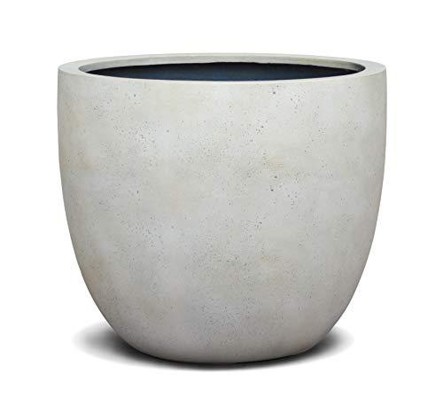 VAPLANTO® Pflanzkübel New Egg Pot 50 Creme Weiß Rund * 45x45x38cm * Manufaktur Qualität * 10 Jahre Garantie