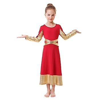 Metallic Gold Cross Praise Dance Dress for Girls Kids Long Sleeve Bandage Color Block Liturgical Lyrical Worship Dancewear Loose Fit Full Length Ruffle Tunic Circle Skirt Ballet Costume Red 5-6Y