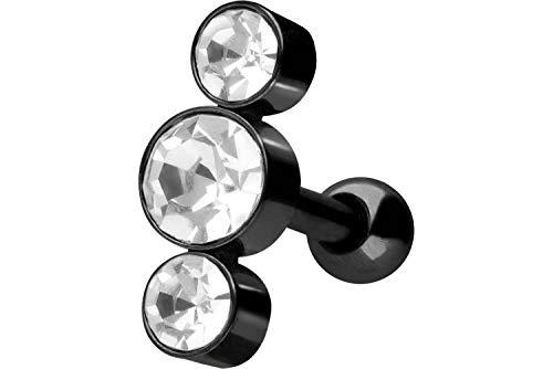 PIERCINGLINE Chirurgenstahl Ohrpiercing | 3 Kristalle | Piercing Schmuck Ohr Stecker Helix | Farbauswahl