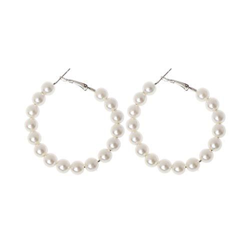 GUMEI Elegantes Pendientes de aro de Perlas Blancas para Mujer, joyería de Moda con círculo de Perlas de Gran tamaño