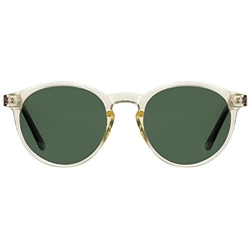 H HELMUT JUST Gafas de Sol para Mujer Hombre Polarizadas Redondas Vintage Transparente Amarillo TR90 y Acetato