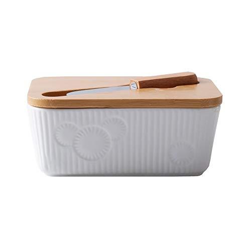 Ahageek Recipiente de cerámica para platos de mantequilla con tapa de madera y cuchillo cortador de mantequilla adecuado para cocinar en la cocina 14 x 6 cm / 5,5 x 2,4 pulgadas (L X H)