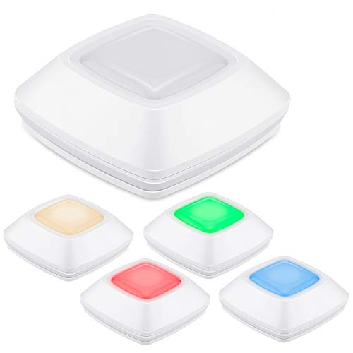 HONWELL Puck Lights, Wireless LED Battery Powered Colored Push Lights, Press RGB Lights, Tap Lights, Click Touch Closet Lights, Voice Level Lights Classroom, Stick Under Counter Cabinet Lights, 5Pack