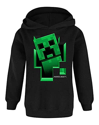 Minecraft - Creeper - Felpa ufficiale con cappuccio - Bambino (11-12 anni) (Nero)