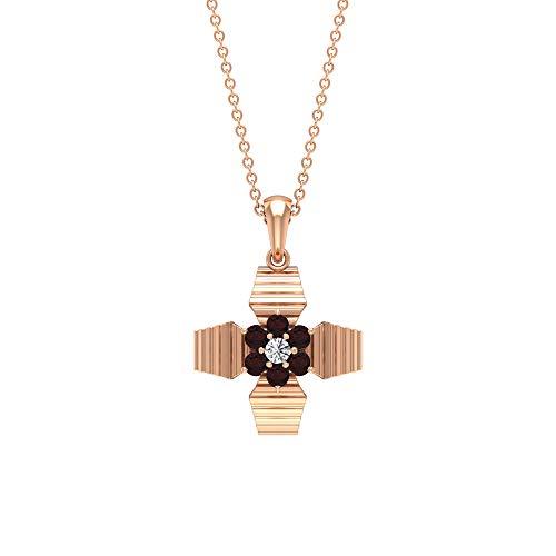 Collar de piedras preciosas de diamante de 1/4 quilates, colgante de granate y diamante, colgantes de oro grabados, colgantes de flor, colgantes de piedra natal de enero (calidad AAA), Metal, Diamond,