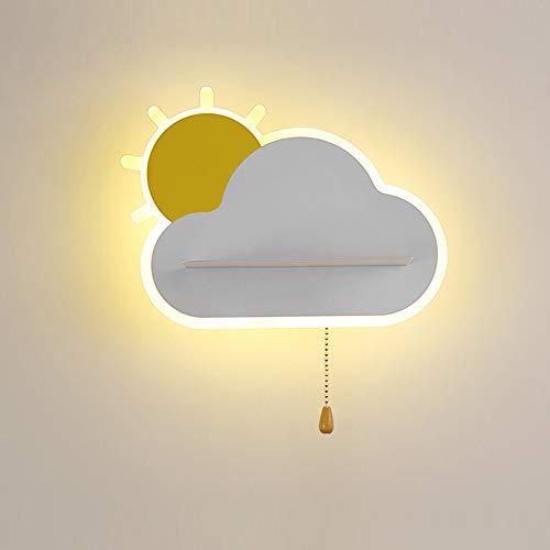 LED-Wandleuchte Cartoon-Stil Wandlampe mit Zugschalter, LED15W Warmes Licht Wolken Sonnenaufgang Nachttischlampe Kinderzimmer Leselampe Bettseite Wandlichter für Wohnzimmer Schlafzimmer Studie,Weiß