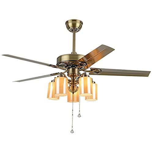 Luces retro de los ventiladores de techo 42'75W Vintage Fans de techo Ventiladores de techo con control remoto Lámpara de cristal y aspas de hierro Blades para la cocina interior sala de estar/come