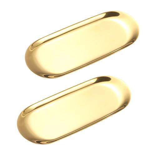 LC&TEAM 2 bandejas doradas de acero inoxidable ovaladas para cosmética, bandeja para joyas, soporte para joyas, almacenamiento, dulces, aperitivos, bandeja para utensilios de cocina