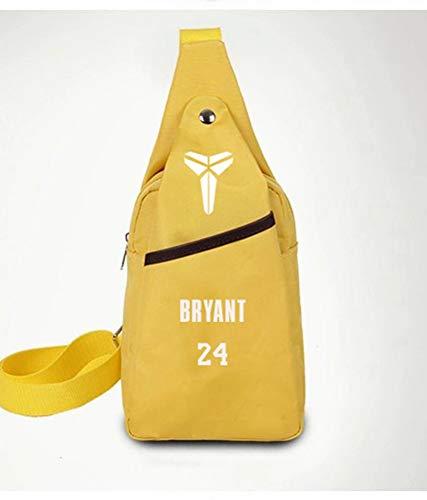 Haoshangzh55 Basketball Rucksack No. 24 Kobe Bryant Basketball Fans Polyester Schultertasche Außen Speichernetztasche Männlich Lady,Gelb