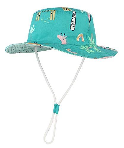 GEMVIE Baby Sun Hat Beach Wide Brim Cotton Boys Bucket Hats Protection Printed Giraffe Summer Sunhats Outdoor Unisex (4-6 Years) Navy