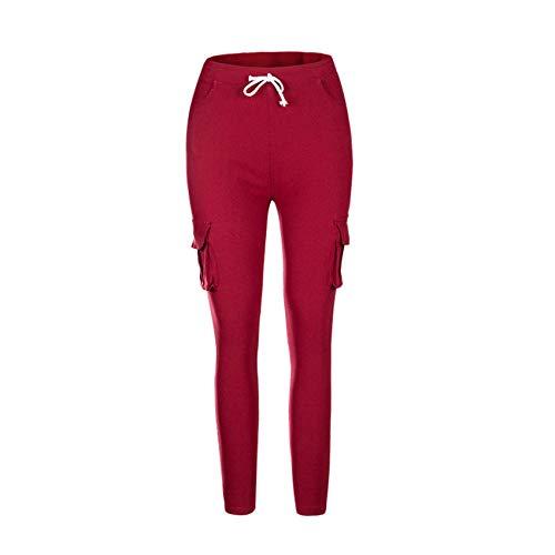 Hhckhxww Herbst Und Winter Damen Multi-Pocket Casual Pants Lange Hosen