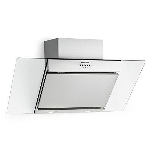 Klarstein Zola - Campana extractora de pared, Aspiración/Ventilación, 3 Niveles intensidad, Filtro grasa de aluminio, Iluminación LED, Extracción hasta 640 m³/h, Potencia 210 W, 90 cm, Plata