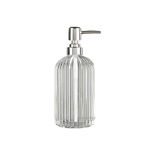 YINGZI Recargable Dispensador de Jabón de Vidrio Transparente Presione Botella de Prensa Retro Rayas Verticales para Botella de Gel de Ducha Líquido Dispensador 400ml Dispensador de Baño