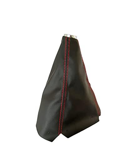 1neiSmartech Universal-Schaltmanschette aus PU-Leder in Schwarz mit roten Nähten Ersatzteil kompatibel für Auto