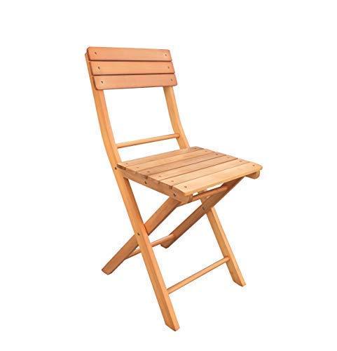 Havnyt Juego de 2 sillas plegables de jardín de madera de teca para exteriores