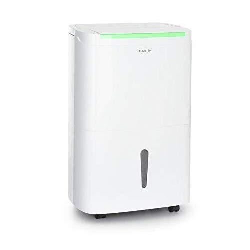 KLARSTEIN DryFy Connect - Deumidificatore, Interfaccia WiFi, Serbatoio da 7 L, Target Umidità Programmabile, Timer, Silenzioso, 360 m³/h, Assorbimento 40 L/24H, Bianco