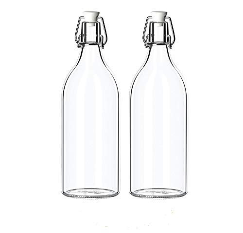 IKEA–botella con tapón KORKEN, cristal transparente (X2)