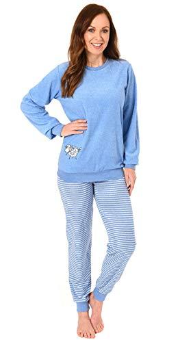 Damen Frottee Pyjama Schlafanzug mit Bündchen und süsser Tier Applikation 291 201 93 110, Farbe:hellblau, Größe2:40/42