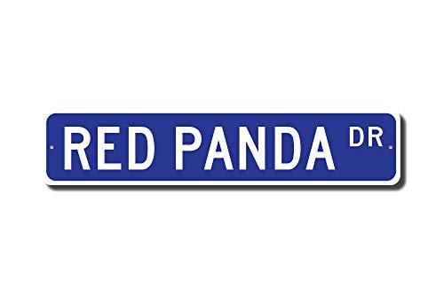 qidushop Cadeau Panda Rouge Rouge Panda Sign Rouge Panda Décor Rouge Amateur de Panda Rouge Bearcat Plaque de Rue Panneau de Chambre Décoration Murale en Aluminium Tin Sign