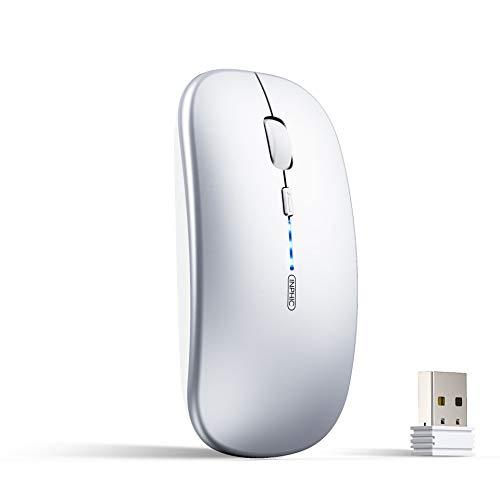 INPHIC Maus Kabellose wiederaufladbar, Ultra Slim 2.4G Leise Funkmaus Optische Computermaus 1600 DPI mit USB-empfänger für Laptop PC Mac MacBook, Windows, Büro, Akkuladestand sichtbar, Silber