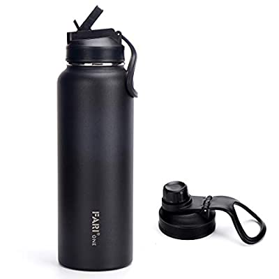 FARI Sports Water Bottle with Straw & Spout Lids – 22oz, 32oz,40oz, Double Wall Vacuum Insulated Stainless Steel with Wide Mouth to Keep Beverages Cold or Hot (40 Oz, Black)