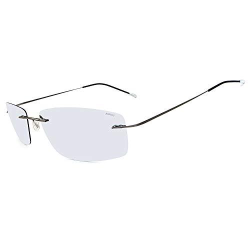 RONSOU Gafas de Sol de Los Hombres Moda Ultraligeras Polarizadas Sin Montura Titanio para Conducir Al Aire Libre Marco Gris Lente Plateado (reflejado)
