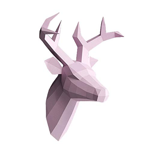 LOVIVER Cabeza de Ciervo asta 3D puzle DIY Arte Papel Animal Modelo casa Oficina Acento habitación Colgante de Pared montado Kit de decoración - Rosa