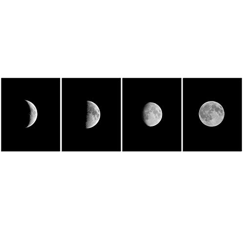 Moon Phrase Canvas Wall Art - Abstract Black and White Galaxy Pictures for Living