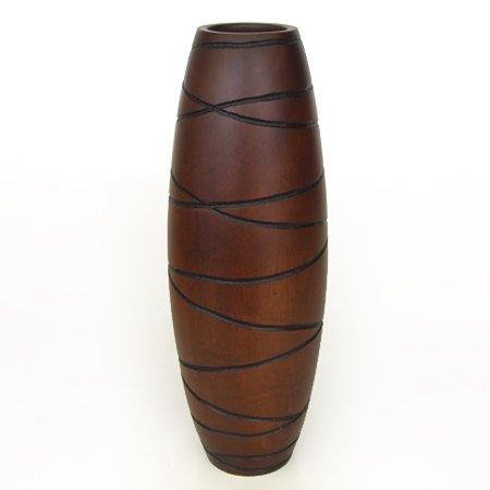 Collumino® Aziatische Oosterse Tafel of Vloer Vaas Beeld Hout Ovale Vorm met Hand Gesneden Patroon